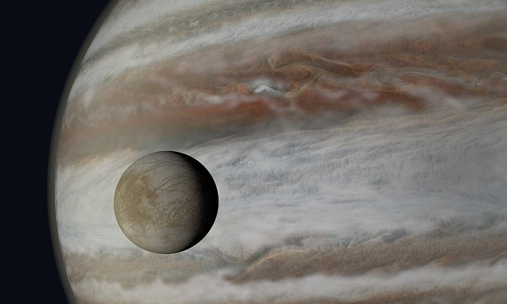 a photo of europa in front of jupiter