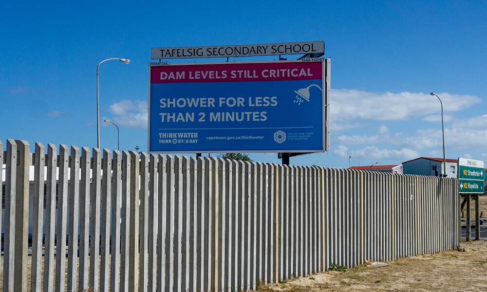 image of Cape Town water shortage billboard