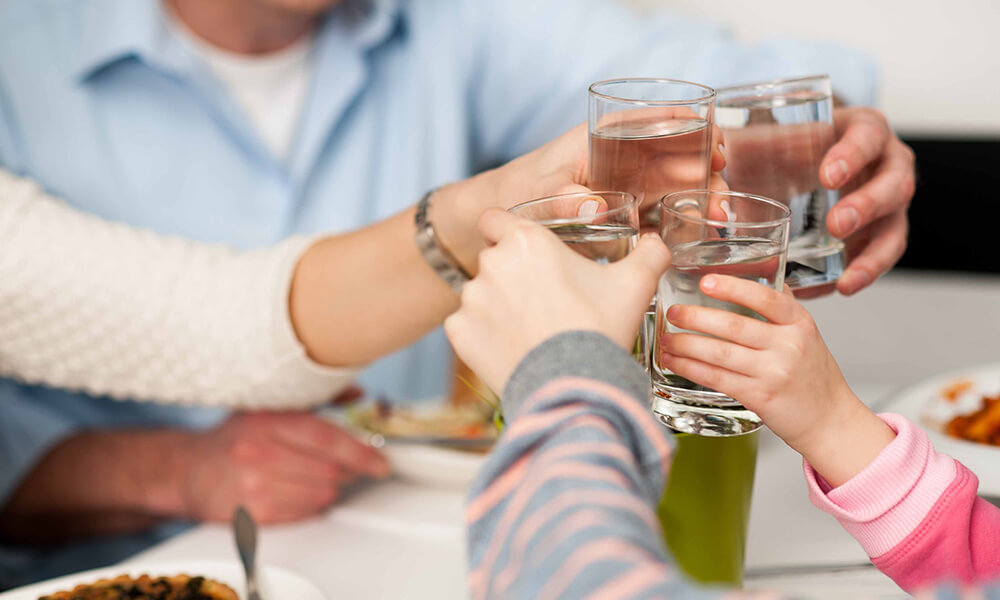 a family drinking water, cheers-ing to hydration